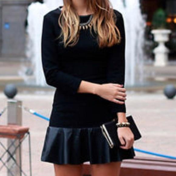 a6a858691b Zara Black Dress With Faux Leather Ruffle Hem. M_5aa80f4436b9deba6a8f4b59